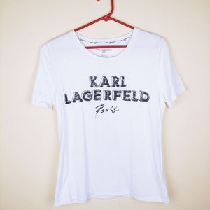 Karl Lagerfeld White Sequin Short Sleeve Top